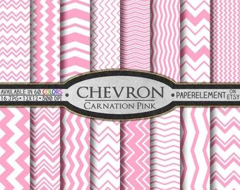 Carnation Pink Chevron Digital Paper Pack - Instant Download - Chevron Paper for Digital Scrapbooking