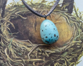 Egg necklace, hand painted egg, song thrush egg, faux bird eggs, wood necklace, leather thong,