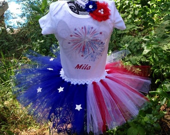4th of july tutu outfit set