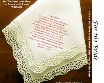 Gift for Bride Hankie from Loved One ~ 0513 Sign & Date Free!  5 Brides Handkerchief Styles and 8 Ink Colors. Brides Hankie