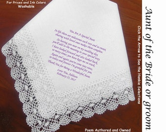 Aunt of the Bride or Groom Gift Hankie & Poem From Bride 1802 Sign and Date  For Free 5 Wedding Hankie Styles and 8 Ink Colors.