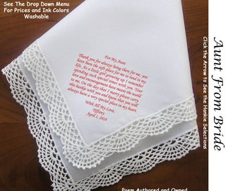 Aunt of the Bride From the Bride 1804~ 5 Wedding Hankie Styles ~ Sign & Date for Free! 8 Ink Colors ~ Aunti of the Bride Hankerchief