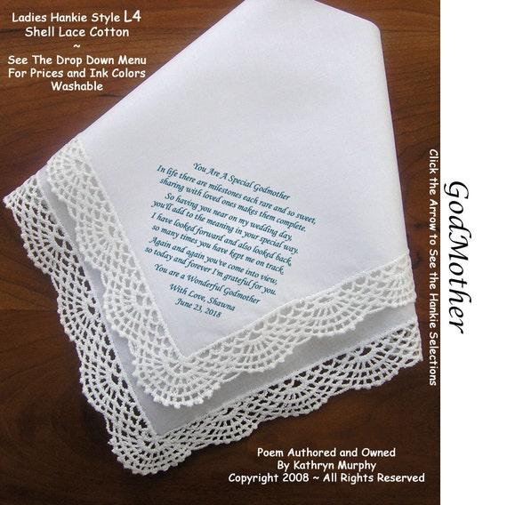 Godmother Wedding Gift: Godmother Of The Bride Or Groom Gift Hankie & Poem 1703 Sign