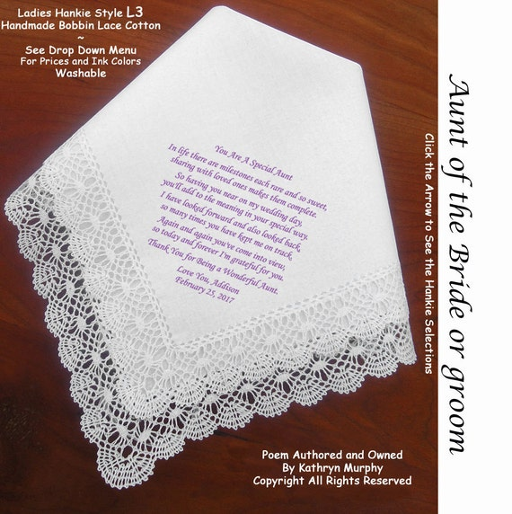 Wedding Gift For Aunt: Aunt Of The Bride Or Groom Gift Hankie & Poem From Bride 1802