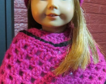 Hot pink poncho & hat for American Girl Doll