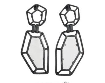 Statement earrings, Geometrical earrings, Long earrings, architectural earrings, fashion earrings, Large 3D Earrings.