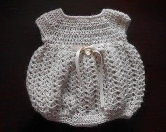 Crocheted Baby Bubble Romper-Beige