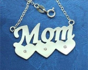 Sterling 925 Silver Mom Name Necklace with Hearts