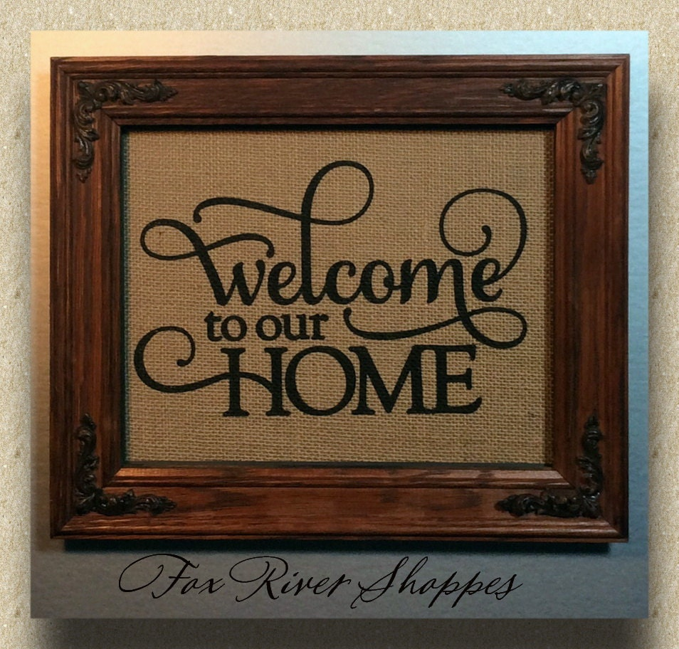Rustic Burlap Wall Decor : Burlap print wall d?cor rustic cabin welcome