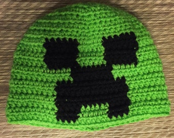 Handmade Crochet Mind Craft Creeper Beanie