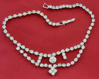 Mid-Century Rhinestone Necklace - with Flaw