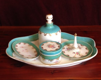 Antique Hand Painted Copeland Fine Porcelain 5 pc. Vanity Set
