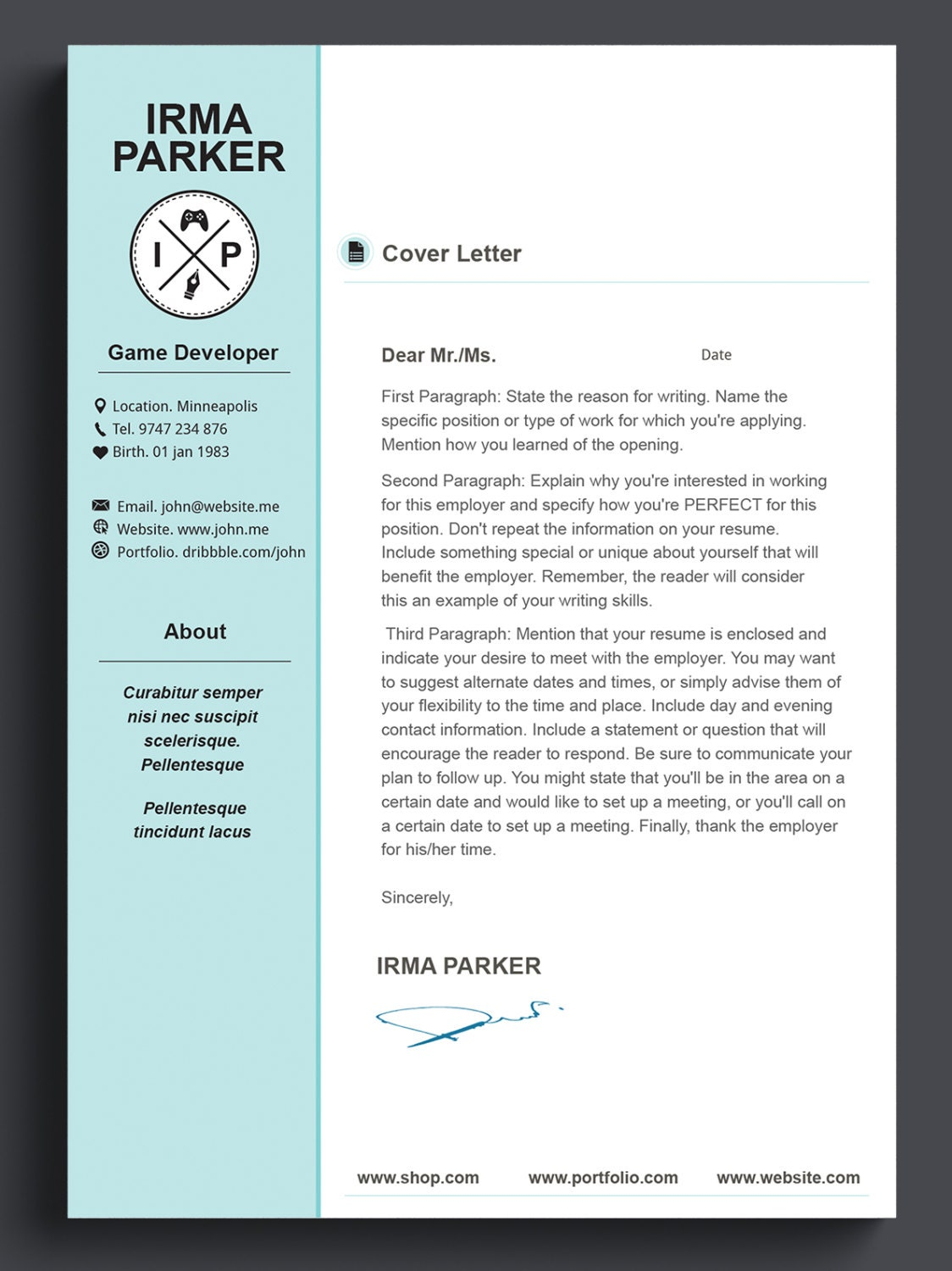 custom resume template cv template photoshop resume by 41bus