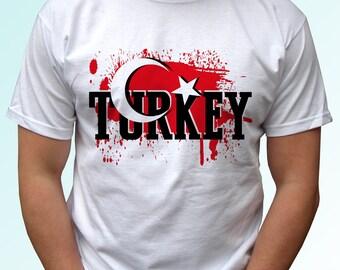 Turkey - new white t shirt flag print design 100% cotton - Mens, womens, kids & baby clothing - all sizes!