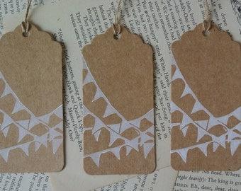 Bunting gift tags, kraft card, wedding x 2
