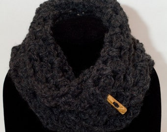 Charcoal Color Infinity/Cowl Crochet Scarf with Functional Wooden Toggle