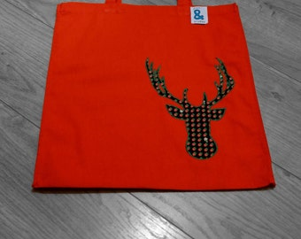 Cotton bag with appliqued stag motif