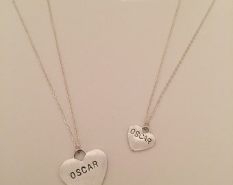 Handstamped Heart Necklace - Word of your choice or Lovers Initials