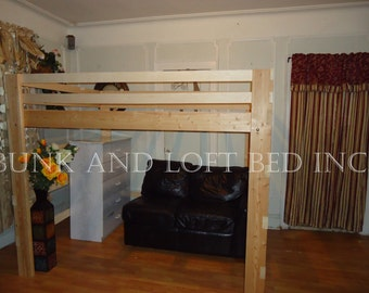 supreme full size heavy duty loft bed with double safety rails and horizontal bar support