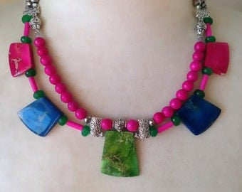 Statement Pendant Multi Colour Turquoise Necklace - Linda Natalie Jewellery