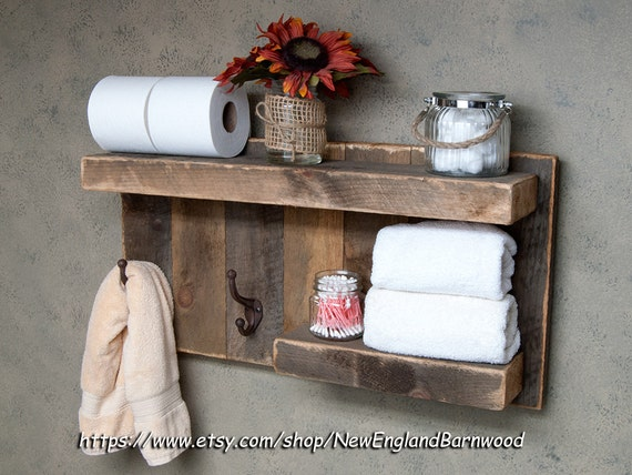 bathroom shelf with hooks rustic bathroom decor rustic towel rack bathroom shelf rustic kitchen decor rustic home decor rustic shelf