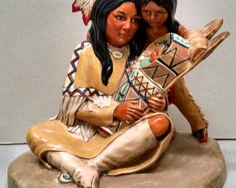 SALE!!!Mother's Love For Family--Native American Indian Figurine--Heirloom Quality--Hand-painted Ceramic--Home Decor--Native American Art
