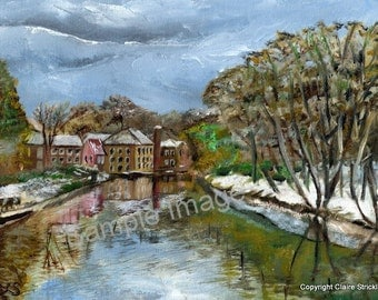 Knaresborough River Nidd, Old Linen Mill, Yorkshire. - Original Oil Painting by English Artist Claire Strickland