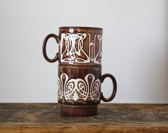 CLEARANCE SALE--Pair of Brown Stacking Mugs,1960's Off- White and Brown Abstract Coffee Mugs, Retro Kitchen, Made in England