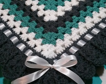 Crocheted Baby Granny Square Blanket 35x35