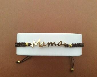Bangle Bracelet mother Macrame Japanese silk Brown
