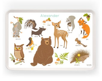KIDS TRAY - Personalized tray for kids and baby, Woodland, melamine tray for kids, plastic tray