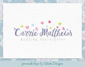 Premade Logo - hearts logo | watercolour logo | photography logo