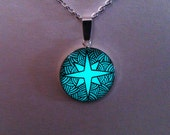 Aqua Glowing Necklace,  Glowing Jewelry, Glow Pendant, Glow in the Dark Star, Glowing Star, Gifts for Her, Hand painted, OOAK