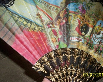 VINTAGE CLOTH FAN..beautiful scenery on cloth..
