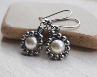 Pearl Earrings, Ivory Vintage Style Pearl Earrings, Oxidized Sterling Silver Pearl Earrings, Wire Wrapped Ivory Swarovski Pearl Earrings