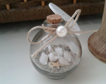 Rustic wedding favors bottles Nautical wedding favor Sand shells Small starfish in a bottle Wedding bottles