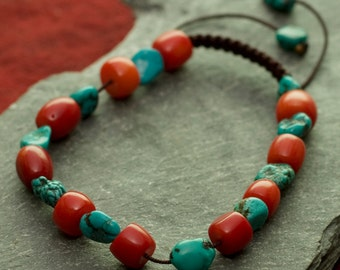Jewelry for Bema Adjustable Turquoise and Red Coral Stone Bracelet