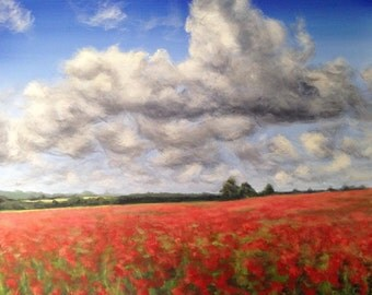 "Original acrylic landscape painting, ""Field of Poppies"", cloud painting, field of flowers, field painting, flower painting"