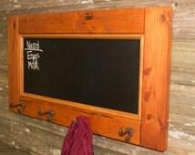 Large Chalkboard Coat Rack, Rustic Coat Hooks, Chalk Board, Four 4 Hook Coat Hanger, Reclaimed Wood