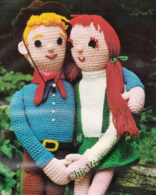 Crochet Dolls ... Big Girl Doll and Boy Doll ... Vintage ...