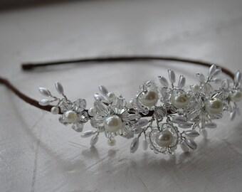 Gorgeous handmade bridal side tiara, bridal headpiece, bridal headband, wedding hair piece, wedding hair accessories, tiara