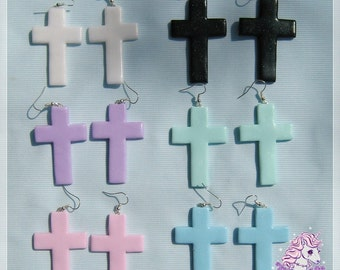 Pastel goth cross earrings