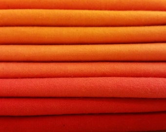 "Hand dyed cotton fat quarters for quilting, gradation of orange to red, ""Bell Peppers"""