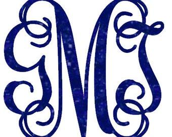 Glitter vine font monogrammed heat transfer iron on, custom iron on, glitter initials, personalized monogram