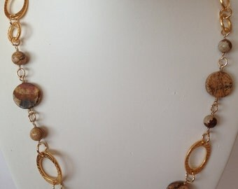 Picture Jasper stone and gold beads