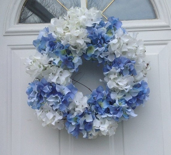 White and blue hydrangea door wreath for spring summer