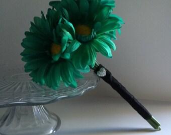 Gerber Daisy Teal Green Flowergirl Bouquet, small bouquet, toss bouquet, throw away bouquet, photography prop, Mini Bouquet