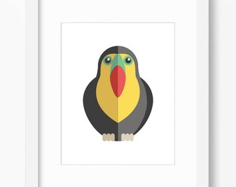 Toucan Print, Bird Art, Bird Print, Nursery Art, Nursery Print, Nursery Bird Print, Nursery Bird Art, Kids Bird Art, Kids Bird Print, Toucan