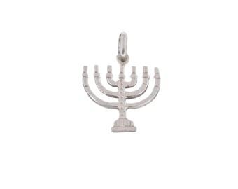Jewish Kabbalah Menorah pendant, 925 Sterling silver Vintage Judaica Style