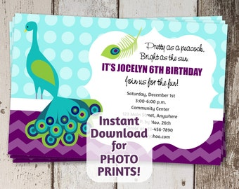 Adorable Poem for Peacock Invitation for Shower & Birthday - Instant digital download - Use invite for photo prints or card stock